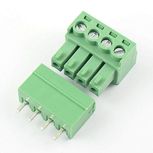 DBParts 10 Sets 4-Pin (4 Pole) 3.81mm Pitch Straight Plug-in Screw Terminal Block Connector PCB Mount DIY