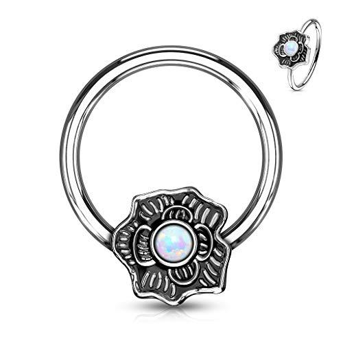 MoBody Opal Glitter Flower Captive Bead Ring 16G Surgical Steel Nose Ring Septum Body Piercing Hoop (White) (Flower Septum Ring)