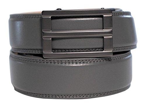 "KORE Men's Track Belt | ""Excel"" Buckle & Full-Grain Leather Belt (Grey Belt Buckle)"