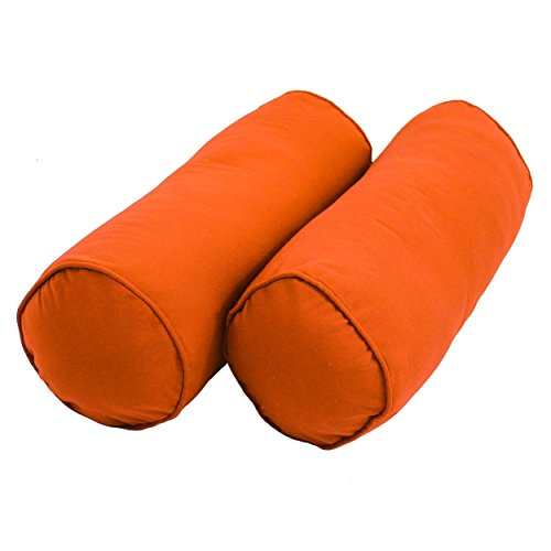 Twill Bolster - Blazing Needles Double-Corded Solid Twill Bolster Pillows with Inserts (Set of 2), 20