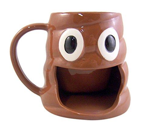 Emoji Poop Coffee Mug with Big Mouth Cookie Holder, 10 Ounce
