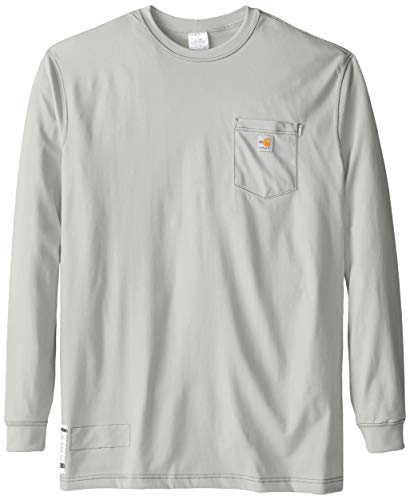 Carhartt Men's Big & Tall Flame Resistant Force Cotton Long Sleeve T-Shirt,Light Gray,XXX-Large from Carhartt