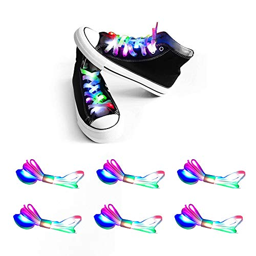 Apexpower Amityke 6 Pairs LED Shoelaces Lights Up 3 Modes Waterproof Shoes Laces 6 Colors Shoestring for Party Hip-hop Dancing Cycling Hiking Skating -