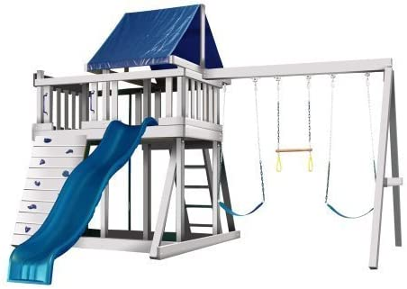 CONGO Monkey Playsystem 1 with Swing Beam – White and Sand Low Maintenance Play Set