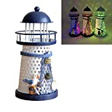 Luwint Color Changing LED Lantern Night Light Metal Vintage Openwork Ocean Lighthouse Wedding Lamp, 1 of 3 Mediterranean Styles, Batteries Included, with Greeting Card, 1 Pcs (Medium / 7.5'' High)