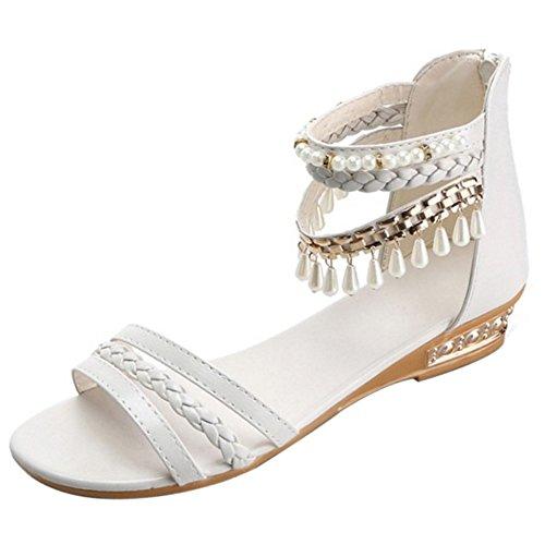 COOLCEPT Mujer Moda Correa de Tobillo Sandalias Tacon Bajo Punta Abierta Zapatos Cremallera Beige
