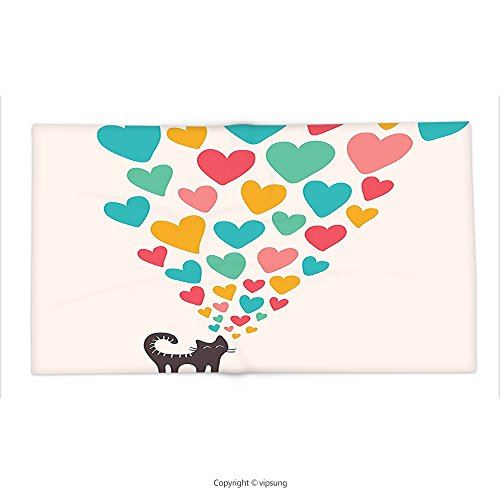 Custom printed Throw Blanket with Cat Lover Decor Collection Cute Cat in Love with Colorful Different Sizes of Hearts Happy Sweet Clipart Teal Mustard Red Super soft and Cozy Fleece Blanket