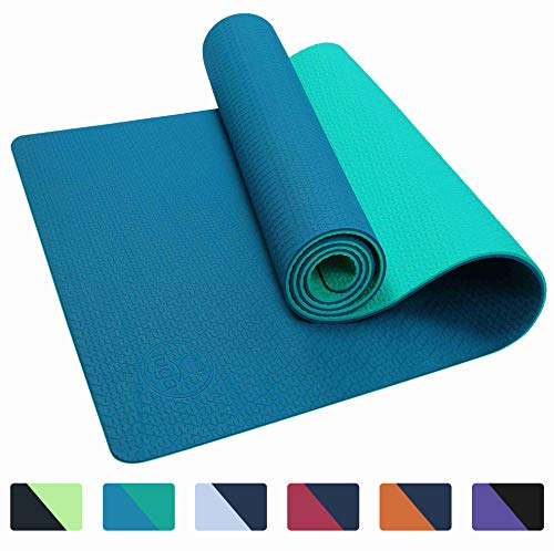 IUGA Yoga Mat Non Slip Textured Surface, Reversible Dual Color, Eco Friendly Yoga Mat with Carrying Strap, Thick Exercise & Workout Mat for Yoga, Pilates and Fitness (72x 24x 6mm)