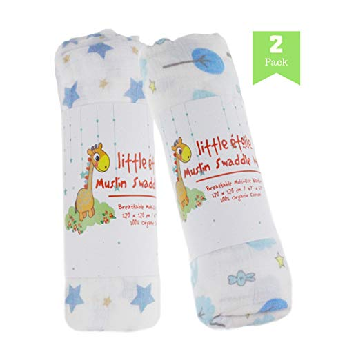 Large Premium Swaddle Baby Blanket | 100% Cotton Muslin | 47 X 47 inch | Pack of 2 | Great for Baby Shower Gift | Blue Trees and Stars| Perfect for Nursery Sets | Unisex