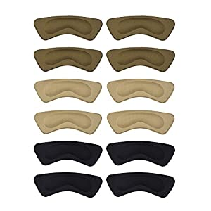 Hotop 6 Pairs Heel Cushion Pads Heel Shoe Grips Liner Self-adhesive Shoe Insoles Foot Care Protector