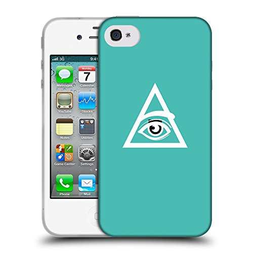 GoGoMobile Coque de Protection TPU Silicone Case pour // Q09050634 Œil Providence 15 Turquoise // Apple iPhone 4 4S 4G