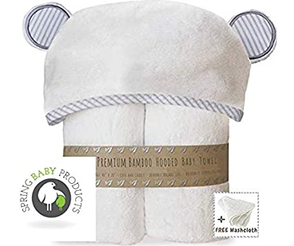 Amazon.com : Premium Bamboo Hooded Baby Towel + Washcloth Set. Our Large, Soft, Organic Hooded, Baby Bath Towel are The Perfect Bath Towels for Both Infant ...
