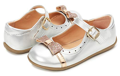 Sliver Mary Jane Flower Girl Dress Shoes Toddler 0-6T Size 11 Party Wedding Little Kid School Uniform Formal Glitter Shoes 11 Flats Toddler Girl Mary Jane Casual Platform (Sliver 26)