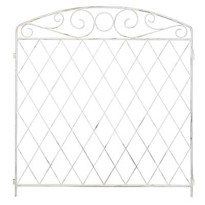 BestNest Set of 10 Panacea French Country Scroll Grid Fence Sections, Aged White