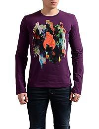 Men's Purple Graphic Crewneck Long Sleeve T-Shirt US M IT 50