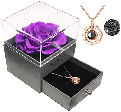 Preserved Real Rose with i Love You Necklace in 100 Languages Gift Set, Enchanted Real Rose Flower for Valentine's Day Anniversary Wedding Birthday Mothers Day Romantic Gifts for her