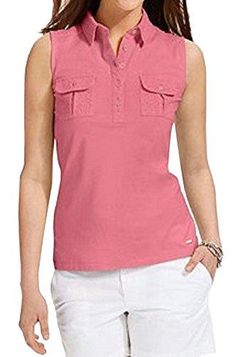 Tommy Hilfiger Sleeveless Crochet-Trim Polo Top (X-Large Pink Lemonade)