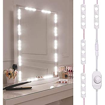 bathroom vanity mirror with lights led vanity mirror light viugreum dimmable 60 leds makeup light kits 10ft 1200lm waterproof diy led strip daylight white 6000k with dimmer for lights kit and usb