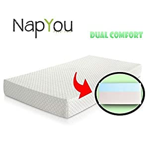Official Amazon Exclusive NapYou Dual Comfort Crib Mattress, Firm Side for Infant & Soft Side for Toddler with 100% Waterproof Cover Made with Organic Cotton - Reversible Baby Mattress 9