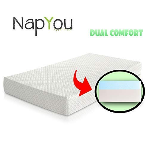 Official Amazon Exclusive NapYou Dual Comfort Crib Mattress, Firm Side for Infant & Soft Side for Toddler with 100% Waterproof Cover Made with Organic Cotton - Reversible Baby Mattress (Best Firm Crib Mattress)