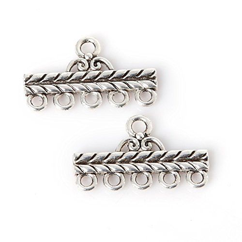 Five-Hole Connector Charms Pendant 13X22Mm Plated Silver Antique Zinc Alloy Jewelry Findings Fit Making Necklaces Xl-62074^