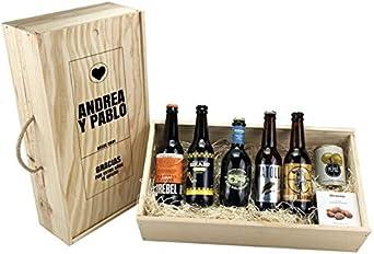 """Caja personalizada """"Regalo pareja"""" degustación cerveza artesanal: Amazon.es: Alimentación y bebidas"""