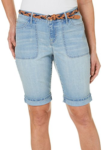 GLORIA VANDERBILT Petite Women's Rachel Belted Denim Bermuda Shorts (14 Petite, Marbella Denim Blue)