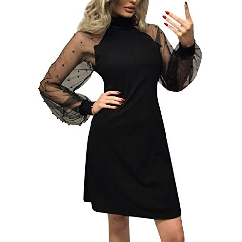 - Dresses for Womens,DaySeventh Women's Pearl Beading Mesh Sleeve Dress Long Sleeve A-Line Mini Party Dress