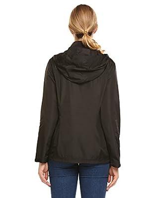 Womens Lightweight Waterproof Raincoat Long Sleeve Active Outdoor Hooded Rain Jacket