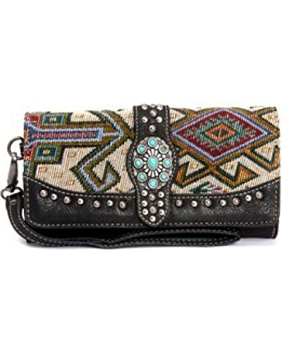 Montana West Women's Western Aztec Collection Concho Wallet Black One - Concho Collection