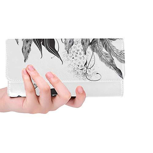 Unique Custom Abstract Woman Mask Flowers Black White Women Trifold Wallet Long Purse Credit Card Holder Case Handbag