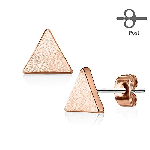 Solid Triangle Earrings - Pair of Solid Triangle 316L Surgical Steel Inspiration Dezigns Post Earring Studs (Rose Gold)