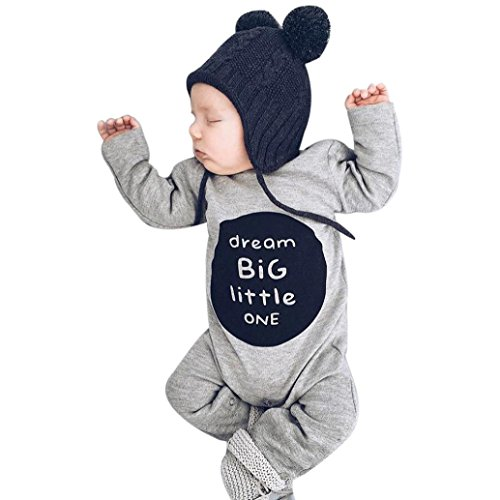 Gallity One Piece Baby dream BIG little one Romper ,Newborn Baby Boy Girl Long Sleeve Jumpsuit Outfits (3M, Gray)