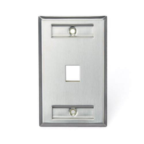 1 Port Stainless Steel - Leviton 43080-1L1 QuickPort Wallplate, Single Gang, 1-Port, Stainless Steel, with Designation Window