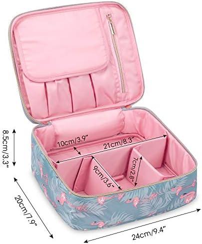 Travel Makeup Bag Large Cosmetic Bag Makeup Case Organizer for Women and Girls (Flamingo) 7