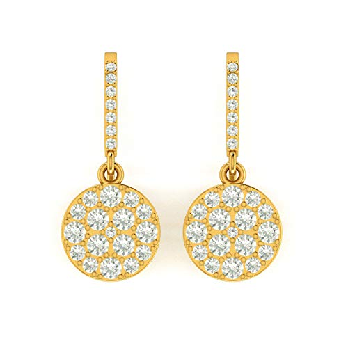 ASHNE JEWELS IGI Certified 0.62 Carat Round-Shape Natural Diamond (G-H Color, I1-I2 Clarity) 14K Yellow Gold Drop and Dangle Earrings For Women