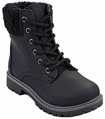 Kids Girls Black Faux Wool Fur Cuff Lace Up Nubuck Combat High Top Ankle Boots-1
