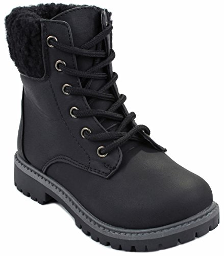 Kids Girls Black Faux Wool Fur Cuff Lace Up Nubuck Combat High Top Ankle Boots-4 (Boots Shearling Cuff)