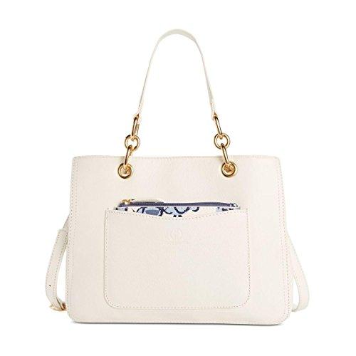 Giani Bernini Womens Leather Convertible Satchel Handbag White (Giani Bernini Purse)