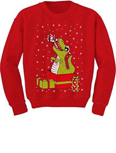 T-Rex Christmas Gift Dinosaur Ugly Xmas Sweater Toddler/Kids Sweatshirt 4T Red