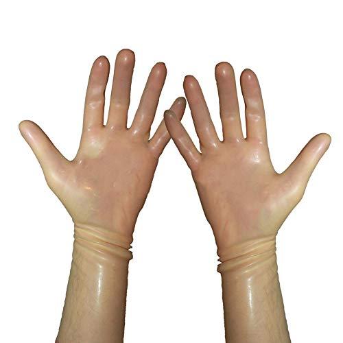 EXLATEX Rubber Secrets Short Latex Mixed Toes Wrist Gloves (S-Wrist around-16cm, Transparent)