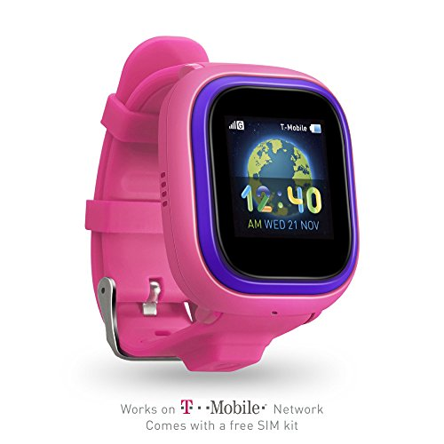 (TickTalk 2.0 Touch Screen Kids Wearable Tracker Wrist Phone w/GPS Locator, Controlled by Apple and Android Phone APP (SIM Card Included) (Pink))