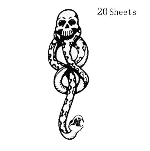 Death Eater Tattoo - Konsait 20Sheets Halloween Death Eater Tattoos,