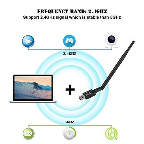 WIN7 Mugast Adaptador WiFi USB XP//Vista 600Mbps Tarjeta de Red inal/ámbrica USB Adaptador de Receptor de transmisor de se/ñal de 2,4 GHz con Antena de 15 cm Compatible para WIN8