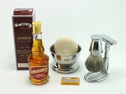 Shaving Gift Set with Merkur Futur Safety Razor, Bowl, GBS Shaving Soap, Badger Brush, Stand and Safety Razor Plus Amber Col Conk Aftershave
