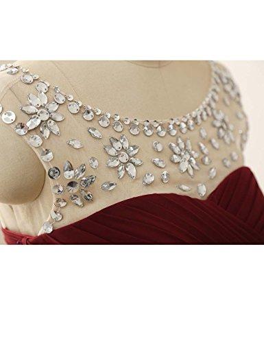damigella Perline Abiti Rosso da da lungo da ballo Chiffon sera JAEDEN Donne con Vestito Abiti Evq677