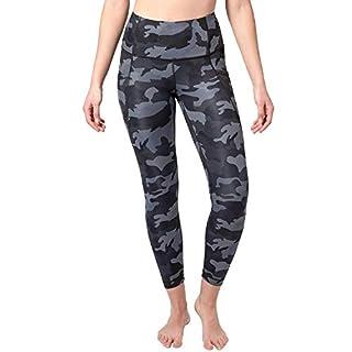 Yogalicious High Waist Ankle Length Pocket Tight (XX-Large, Black/Grey Camo)