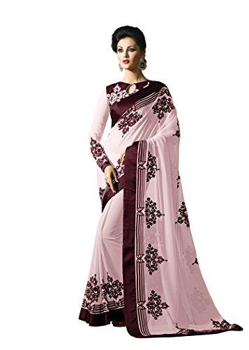 Jaanvi-Fashion-Pink-Designer-Georgette-Embellished-Saree