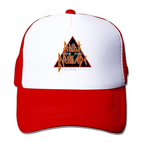 Red HGLENice Def Leppard Logo Unisex Adjustable Baseball Trucker Caps One Size