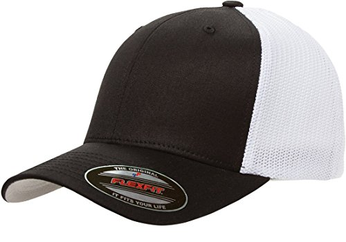 6511 Flexfit Mesh Cotton Twill Trucker Cap (Black/White)